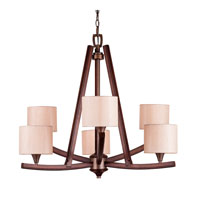 Golden Lighting Geller 6 Light Chandelier in Mahogany Wood 4090-6-MW photo thumbnail