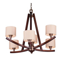 Golden Lighting Geller 6 Light Chandelier in Mahogany Wood 4090-6-MW alternative photo thumbnail
