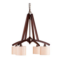 Golden Lighting Geller 4 Light Chandelier in Mahogany Wood 4090-D4-MW photo thumbnail
