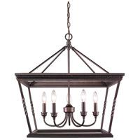 Golden Lighting 4214-5 EB Davenport 5 Light 24 inch Etruscan Bronze Chandelier Ceiling Light