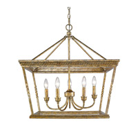 Davenport 5 Light 24 inch Luxe Gold Chandelier Ceiling Light