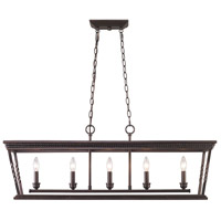 Golden Lighting Davenport 5 Light Linear Pendant in Etruscan Bronze 4214-LP-EB