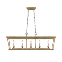 Davenport 5 Light 41 inch Luxe Gold Linear Pendant Ceiling Light