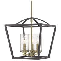 Golden Lighting 4309-3P-BLK-AB-SD Mercer 3 Light 15 inch Matte Black with Aged Brass Pendant Ceiling Light