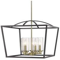 Golden Lighting 4309-5-BLK-AB-SD Mercer 5 Light 22 inch Matte Black with Aged Brass Chandelier Ceiling Light