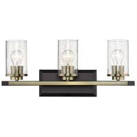 Golden Lighting 4309-BA3-BLK-AB-SD Mercer 3 Light 22 inch Matte Black with Aged Brass Bath Vanity Light Wall Light