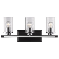 Mercer 3 Light 22 inch Black Bath Vanity Wall Light