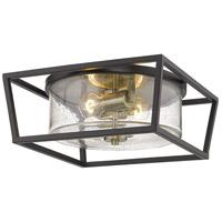 Golden Lighting 4309-FM-BLK-AB-SD Mercer 2 Light 15 inch Matte Black with Aged Brass Flush Mount Ceiling Light
