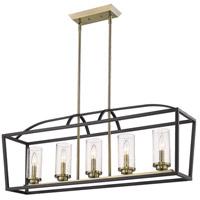 Golden Lighting 4309-LP-BLK-AB-SD Mercer 5 Light 38 inch Matte Black with Aged Brass Linear Pendant Ceiling Light