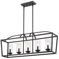 Golden Lighting 4309-LP-BLK-BLK-SD Mercer 5 Light 38 inch Matte Black Linear Pendant Ceiling Light