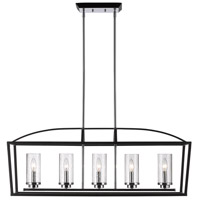 Golden Lighting Mercer 5 Light Linear Pendant in Black 4309-LP-BLK-SD