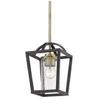 Golden Lighting 4309-M1L-BLK-AB-SD Mercer 1 Light 7 inch Matte Black with Aged Brass Mini Pendant Ceiling Light Convertible