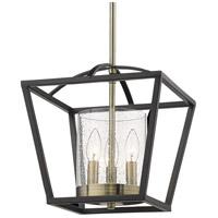 Golden Lighting 4309-M3 BLK-AB-SD Mercer 3 Light 12 inch Matte Black/Aged Brass Mini Chandelier Ceiling Light in Black with Aged Brass Accents