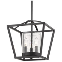 Mercer 3 Light 12 inch Matte Black Mini Chandelier Ceiling Light, Convertible to Semi-Flush