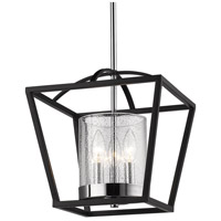 Mercer 3 Light 12 inch Matte Black with Chrome Mini Chandelier Ceiling Light, Convertible to Semi-Flush