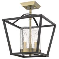 Golden Lighting 4309-SF-BLK-AB-SD Mercer 3 Light 12 inch Matte Black with Aged Brass Semi-Flushmount Ceiling Light Convertible to Pendant
