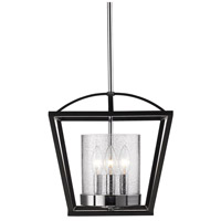 Golden Lighting 4309-SF-BLK-SD Mercer 3 Light 12 inch Black Semi-Flush Mount Ceiling Light, Convertible