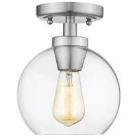 Golden Lighting 4855-FM-PW-CLR Galveston 1 Light 7 inch Pewter Flush Mount - Damp Ceiling Light