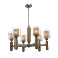 Golden Lighting Zura 6 Light Chandelier in Mahogany Steel Wash with Amber-Touched Pillar Glass 5010-6-MW alternative photo thumbnail