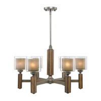 Golden Lighting Zura 6 Light Chandelier in Mahogany Steel Wash with Amber-Touched Pillar Glass 5010-6-MW