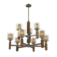 Golden Lighting Zura 9 Light Chandelier in Mahogany Steel Wash with Amber-Touched Pillar Glass 5010-9-MW alternative photo thumbnail