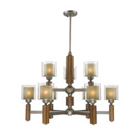 Golden Lighting Zura 9 Light Chandelier in Mahogany Steel Wash with Amber-Touched Pillar Glass 5010-9-MW