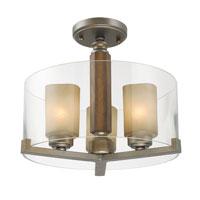 Golden Lighting Zura 3 Light Convertible Semi-Flush in Mahogany Steel Wash with Amber-Touched Pillar Glass 5010-SF-MW alternative photo thumbnail