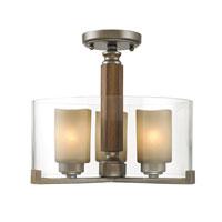 Golden Lighting Zura 3 Light Convertible Semi-Flush in Mahogany Steel Wash with Amber-Touched Pillar Glass 5010-SF-MW photo thumbnail