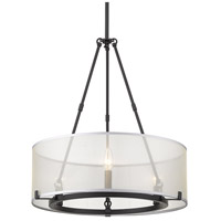 Golden Lighting 5019-3-BLK Alyssa 3 Light 20 inch Matte Black Mini Chandelier Ceiling Light Convertible to Semi-Flush