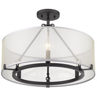 Golden Lighting 5019-3SF-BLK Alyssa 3 Light 20 inch Matte Black Semi-Flushmount Ceiling Light