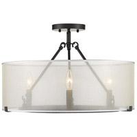 Golden Lighting 5019-3SF-S-BLK Alyssa 3 Light 20 inch Matte Black Semi-flush - Damp Ceiling Light