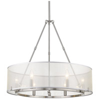 Golden Lighting 5019-6-PW Alyssa 6 Light 26 inch Pewter Chandelier Ceiling Light Convertible to Semi-Flush
