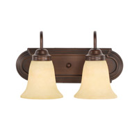 Brookfield 2 Light 14 inch Rubbed Bronze Bath Vanity Wall Light in Tea Stone Glass