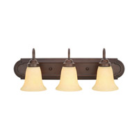 Brookfield 3 Light 24 inch Rubbed Bronze Bath Vanity Wall Light in Tea Stone Glass