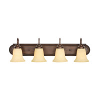 Brookfield 4 Light 30 inch Rubbed Bronze Bath Vanity Wall Light in Tea Stone Glass