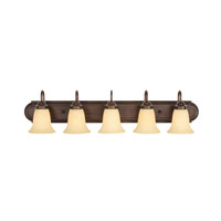 Golden Lighting Brookfield 5 Light Bath Vanity in Rubbed Bronze 5221-5-RBZ-TEA