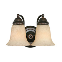 Centennial 2 Light 12 inch Rubbed Bronze Bath Vanity Wall Light in Tea Stone Glass