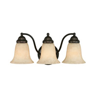 Centennial 3 Light 18 inch Rubbed Bronze Bath Vanity Wall Light in Tea Stone Glass