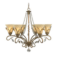 Golden Lighting Beau Jardin 6 Light Chandelier in Rose Gold with Swirled Mist Glass 5400-6-RG
