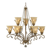 Golden Lighting Beau Jardin 9 Light Chandelier in Rose Gold with Swirled Mist Glass 5400-9-RG