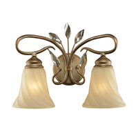 Golden Lighting Beau Jardin 2 Light Bath Fixture in Rose Gold with Swirled Mist Glass 5400-BA2-RG