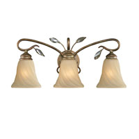 Golden Lighting Beau Jardin 3 Light Bath Fixture in Rose Gold with Swirled Mist Glass 5400-BA3-RG
