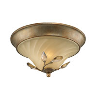 Golden Lighting Beau Jardin 2 Light Flush Mount in Rose Gold with Swirled Mist Glass 5400-FM-RG