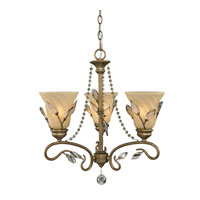 Golden Lighting Beau Jardin 3 Light Mini Chandelier in Rose Gold with Swirled Mist Glass 5400-M3-RG