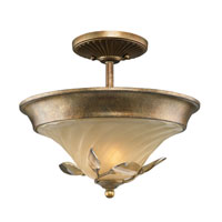 Golden Lighting Beau Jardin 2 Light Convertible Semi-Flush in Rose Gold with Swirled Mist Glass 5400-SF-RG