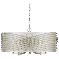 Golden Lighting 5516-5-WG-SHR Zara 5 Light 26 inch White Gold Chandelier Ceiling Light