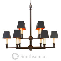 Smithsonian Bradley 10 Light 34 inch Cordoban Bronze Chandelier Ceiling Light in Black, 2 Tier