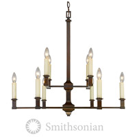 Golden Lighting Smithsonian 5907-10-CDB Bradley 10 Light 31 inch Cordoban Bronze Chandelier Ceiling Light in No Shade 2 Tier