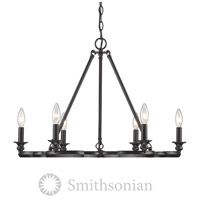 Smithsonian Saxon 6 Light 27 inch Aged Bronze Chandelier Ceiling Light
