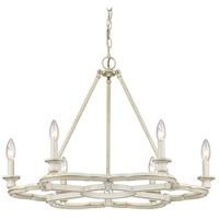 Golden Lighting 5926-6 FW Saxon 6 Light 27 inch French White Chandelier Ceiling Light